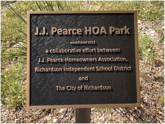 JJ Pearce HOA Park Sign